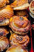 Alsatian Tourte Au Riesling pies in a delicatessen