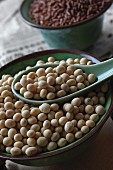 Soya beans in a ceramic bowl