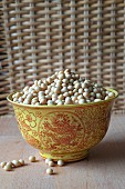 Soya beans in a ceramic Chinese bowl
