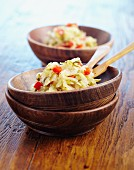 Courgette coleslaw with diced peppers