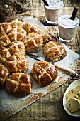 Hot cross buns with hot chocolate
