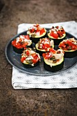 Courgette bruschetta with tomatoes