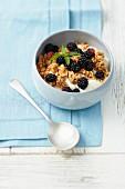 Crunchy muesli with Greek yoghurt and blackberries