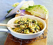 Herb pasta with minced meat (Poland)