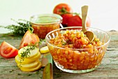 Courgette and tomato chutney with ingredients