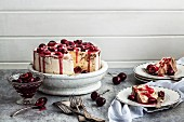 Chocolate ice cream cake with cherries