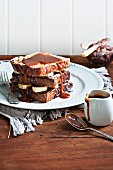 French toast with bananas, chocolate and salty caramel sauce