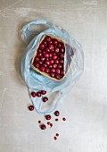 Sour cherries in a wooden basket in a plastic bag