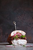 A pastrami and radish sandwich