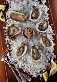 Oysters in shells on a bed of salt with lemon wedges and a mignonette sauce