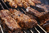 Indonesian style grilled beef on a barbecue