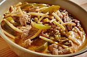 A bowl of Thai red pork curry (Thailand)