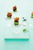 Cucumber rolls with wasabi mousse and smoked salmon