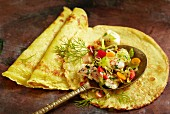 Curry pancakes with fish ragout