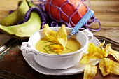 Pumpkin soup with plaintains
