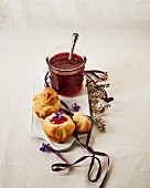 Raspberry jelly with violet syrup