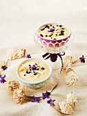White chocolate cream with candied violets