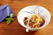 Spaghetti with beef and died tomatoes