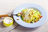 Tagliatelle with leek, Gorgonzola sauce and pine nuts