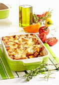 Vegetable lasagne with tomatoes and peppers