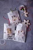 Shortbread snowflakes in homemade paperbags as a gift