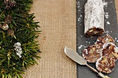 Chocolate salami with walnuts, cranberries and marshmallows