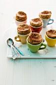 Mocha soufflés in espresso cups