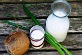 Kokosmilch und Kokosnuss
