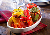 Peppers filled with beans and minced meat