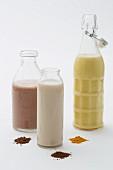 Vegan milk with cocoa powder, carob and turmeric