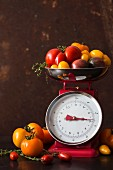 Various different coloured tomatoes on a pair of kitchen scales