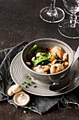 Shiitake mushroom soup with savoy cabbage and Spätzle (soft egg noodles from Swabia)
