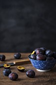 An arrangement of fresh damsons