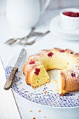 Raspberry Cake in Baking Pan; Plates and Forks