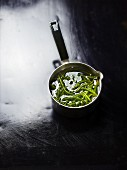 Cooked samphire in a saucepan