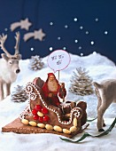 Father Christmas in a gingerbread sleigh
