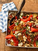 Mediterranean oven-roasted vegetables with fresh herbs