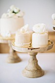 A wedding cake on a restaurant table