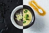 Black bean soup, and mango and ginger soup