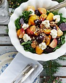 Beetroot salad with kale, cream cheese, walnuts and sunflower seeds