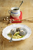 Poppy seed dumplings with apple must compote (Austria)