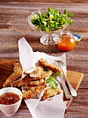 Chicken breast with a sesame seed crust with lamb's lettuce