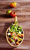 Greek salad with lamb's lettuce