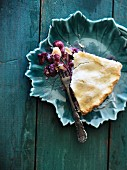 A slice of grape pie (seen from above)