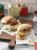 Minced lamb burgers with coleslaw and chickpeas