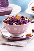 Red cabbage salad with almonds and raisins