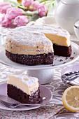 Lemon cheesecake with chocolate bases