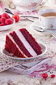 A slice of chocolate sponge cake with raspberry cream
