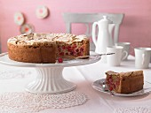 Redcurrant cake with almonds, sliced