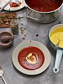 Indian tomato soup with a saffron sauce and cardamom